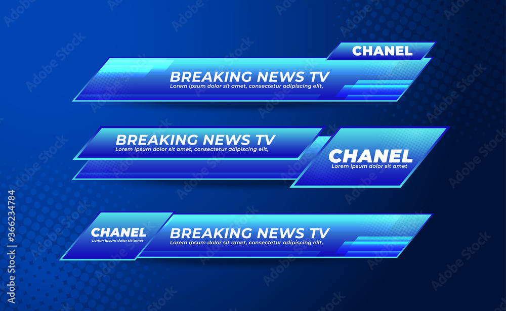 Fototapeta Broadcast News Lower Thirds Banner Template for Television, Media Channel, Video