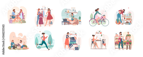 Obraz Ordinary day of young woman in city set of vector illustrations - fototapety do salonu
