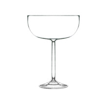 Coupe Cocktail Glass For Champagne Isolated On White. Hand Drawn Illustration. Pencil Sketch Of Empty Glassware For Alcohol Drink. Design Element For Bar And Restaurant Menu, Recipes, Flyers.