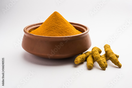 Obraz na plátně Organic Dry turmeric or Haldi powder also known as curcuma longa linn, selective