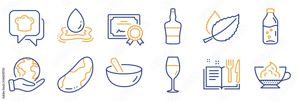 Fototapeta Set of Food and drink icons, such as Scotch bottle, Espresso cream. Certificate, save planet. Cooking hat, Water splash, Water bottle. Brazil nut, Recipe book, Mint leaves. Vector