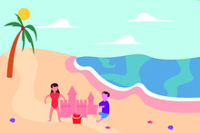 Summer Fun Vector Concept: Chi...