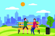 Healthy Lifestyle Vector Concept: Couple Sitting On A Park Bench And Drinking Water After Working Out