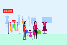 Family Shopping Vector Concept: Happy Family Shopping At The Clothing Store
