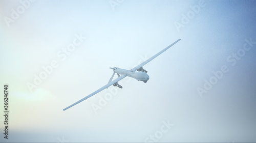 Drone Unmanned Aerial Vehicle Aircraft Flying Low Sunrise Sunset 3d illustration Canvas Print