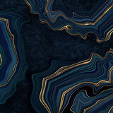 Fototapeta Kamienie - abstract luxurious dark blue background, fake agate with golden veins, painted artificial stone texture, marbled surface, digital marbling illustration
