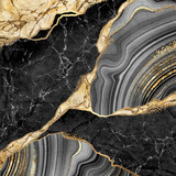 abstract background, black marble and agate mosaic with golden veins, japanese kintsugi technique, fake painted artificial stone texture, marbled wallpaper, digital marbling illustration - 366258981