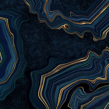Abstract Luxurious Dark Blue Background, Fake Agate With Golden Veins, Painted Artificial Stone Texture, Marbled Surface, Digital Marbling Illustration
