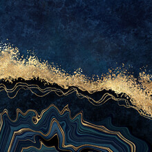 Abstract Dark Blue Background With Golden Foil. Artificial Stone Texture, Fake Agate, Trendy Marbled Wallpaper, Digital Marbling Illustration