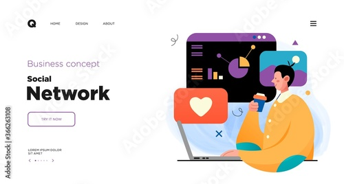 Social media network and digital communication concept. Website Landing page template designs. Web page layout with modern business concepts illustration.