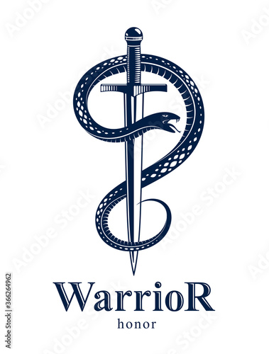 Tablou Canvas Snake and Dagger, Serpent wraps around a sword vector vintage tattoo, Life is a Fight concept, allegorical logo or emblem of ancient symbol