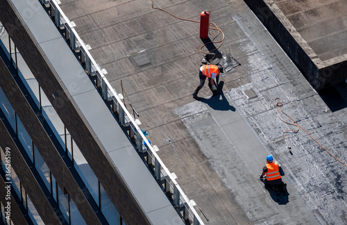 Birds eye view of a roof construction site Wallpaper Mural