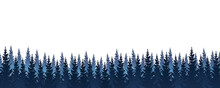 Seamless Border With Coniferous Forest - Panoramic Horizontal Landscape For Banner Design