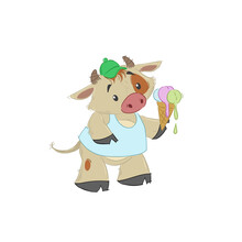 Cute Bull, Ox Or Bison Taking A Melted Ice Cream. 2021 Chinese Year Of Bull Symbol. Cartoon Hand Drawn Style. July Vector Illustration.