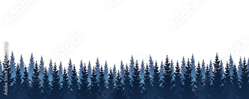 Canvas Print Seamless border with coniferous forest - panoramic horizontal landscape for bann