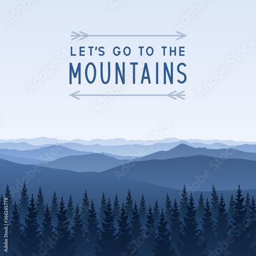 Fototapeta Mountain scene with coniferous forest - landscape for poster and banner design obraz na płótnie