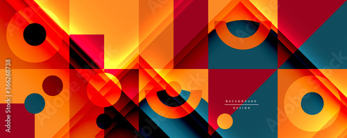 Obraz Neo memphis geometric pattern with circles, squares and lines. Pop art abstract background for covers, banners, flyers and posters and other templates - fototapety do salonu