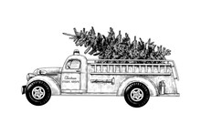 .Christmas Fire Engine. Vintage Fire Truck With A Christmas Tree On A White Background. Retro Card.  Black And White Sketch.