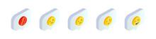 Isometric Smile Emoji Symbols In Speech Bubble Set. 3d Customer Rating Satisfaction Positive And Negative Feedback Emotions. Social Media Vector Illustration For Web, App, Design, Infographics