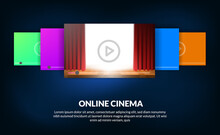 Carousel Of List Film For Online Streaming Video Cinema Concept With Red Curtain Stage Show For Film Preview