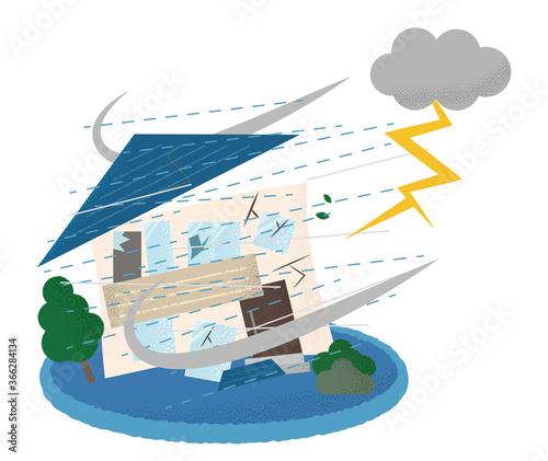 Foto 雷雨の被害に遭う住宅のベクターイラスト