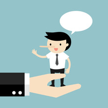 Businessman Is Standing On A Big Hand And Lying To His Boss. Vector Illustration.