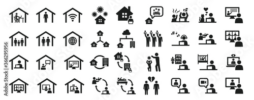 Leinwand Poster Set of business icons related to work from home