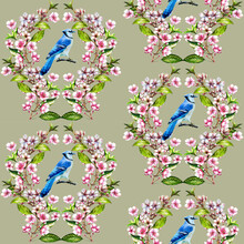 Seamless Pattern With Watercolor Blue Jay And Cherry Blossom.