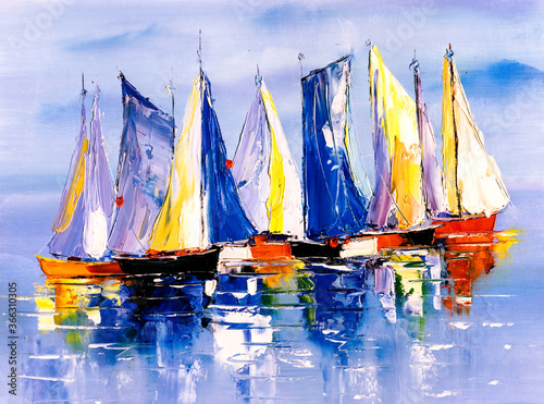 Vászonkép Oil Painting - Sailing Boat