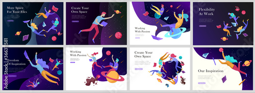 Fototapeta landing page templates set. Inspired People flying in space and reading books. Characters moving and floating in dreams, imagination and freedom inspiration. Flat design style obraz