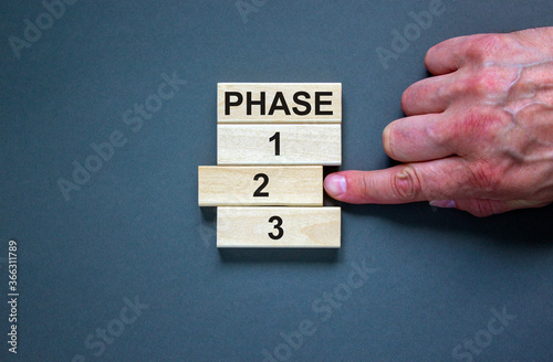 Fototapeta Wooden blocks form the words 'phase, 1, 2, 3,' on blue background. Male hand. Beautiful background. Business concept, copy space. obraz