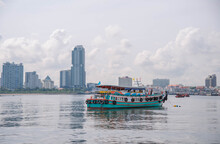 Passenger Boat Anchored In Front Of The Bay, Si Racha District, Chon Buri Province, Thailand 21 July 2020