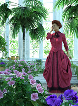 Victorian Lady Enjoys Her Garden