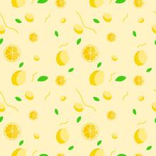 Fruit Seamless Pattern, Lemon On Yellow Wallpaper.