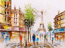 Oil Painting - Street View Of ...