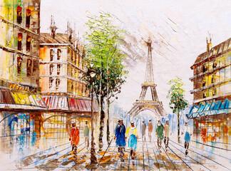 Fototapeta Architektura Oil Painting - Street View of Paris