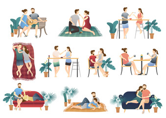adorable relaxing couple scene set. daily life of cute happy couple. romantic couple relationship in flat vector illustration