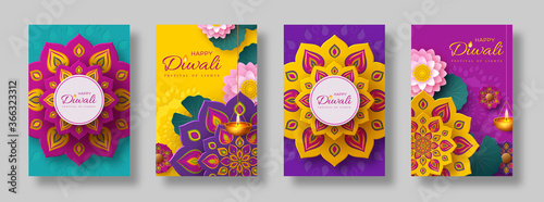Fotografie, Obraz Diwali, festival of lights holiday cards with paper cut style of Indian Rangoli, diya - oil lamp and lotus flowers