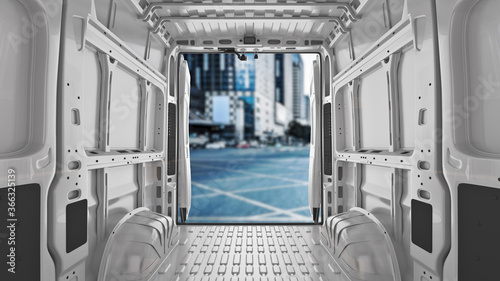 Obraz commercial delivery vans. Transporting service company. 3d rendering	  - fototapety do salonu