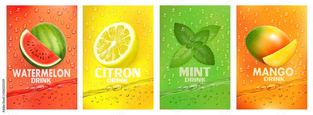 Fototapeta Set of labels with fruit drink. Fresh fruits juice splashing together- watermelon, citron, mint, mango juice drink splashing. Vector.