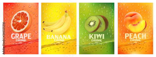 Photo Set of labels with fruit drink