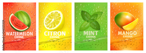Obraz Set of labels with fruit drink. Fresh fruits juice splashing together- watermelon, citron, mint, mango juice drink splashing. Vector. - fototapety do salonu