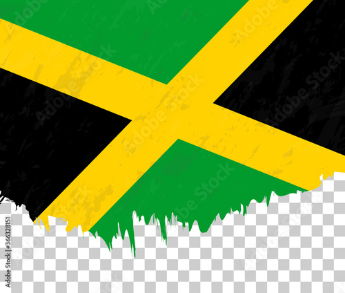 Obraz na plátne Grunge-style flag of Jamaica on a transparent background.