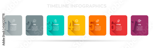 Fototapeta Vector Infographic design with 7 options or steps. Infographics for business concept. Can be used for presentations banner, workflow layout, process diagram, flow chart, info graph obraz