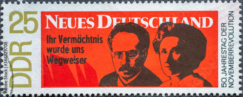 Tela GERMANY, DDR - CIRCA 1968: a postage stamp from Germany, GDR showing 50th annive