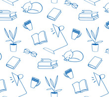Back To School Doodle Wallpaper. Various School Stuff For Homework, Table Lamp, Sleeping Cat, Cups, Books, Flower In A Pot, Glasses. Blue Vector Seamless Pattern Over White Background