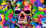 Fototapeta Młodzieżowe - abstract colorful background with colorful skull