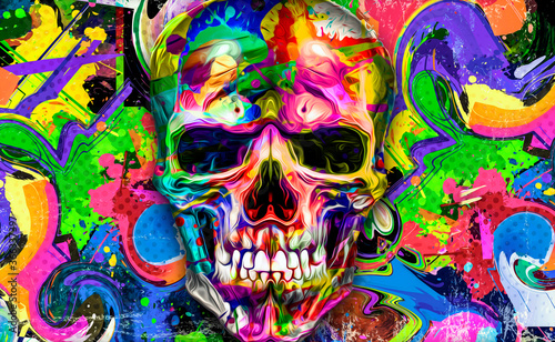 Fotografie, Obraz abstract colorful background with colorful skull
