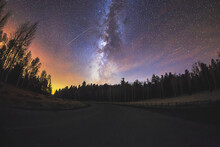 Milky Way In The Night Sky With A Shooting Star In Flagstaff, Arizona