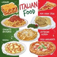 Hand Drawn Vector Illustration Set, Popular Varieties Of Traditional Italian Cuisine.